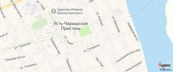 Переулок Юности на карте села Усть-Чарышской Пристани с номерами домов