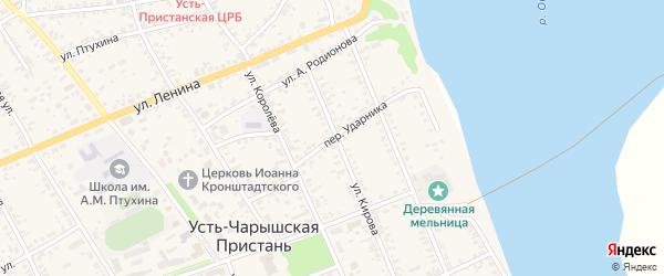 Переулок Ударника на карте села Усть-Чарышской Пристани с номерами домов