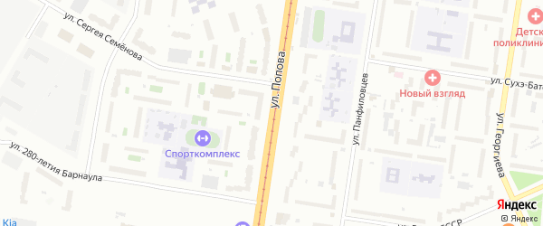 Улица Попова на карте Барнаула с номерами домов
