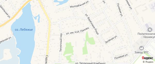 Улица им Н.И.Панова на карте села Лебяжьего с номерами домов