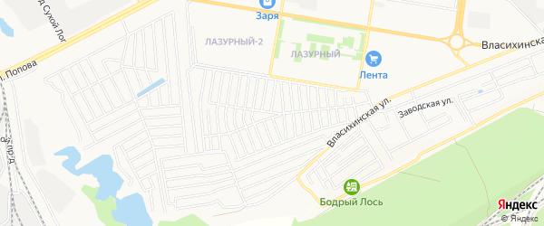 Карта садового некоммерческого товарищества Ракеты города Барнаула в Алтайском крае с улицами и номерами домов