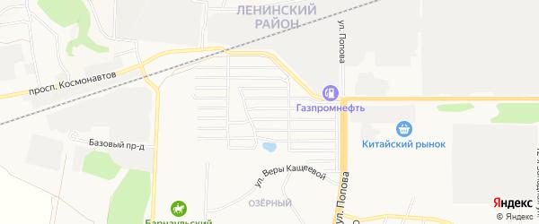 Карта садового некоммерческого товарищества Трансмаша города Барнаула в Алтайском крае с улицами и номерами домов