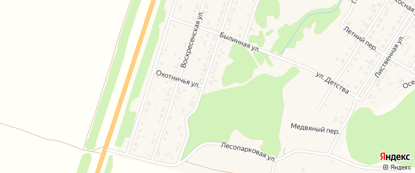 Охотничья улица на карте поселка Бельмесево с номерами домов