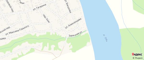 Короткий переулок на карте села Усть-Чарышской Пристани с номерами домов