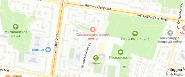 Ленинградская улица на карте Барнаула с номерами домов