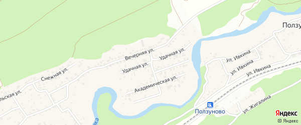 Удачная улица на карте садового некоммерческого товарищества Полета с номерами домов