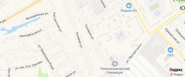 Полевая улица на карте села Лебяжьего с номерами домов