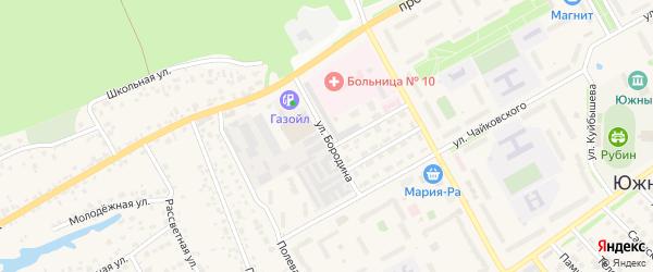 Улица Бородина на карте Южного поселка с номерами домов