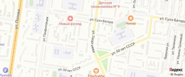Улица Георгиева на карте Барнаула с номерами домов