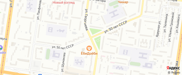 Улица 50 лет СССР на карте Барнаула с номерами домов