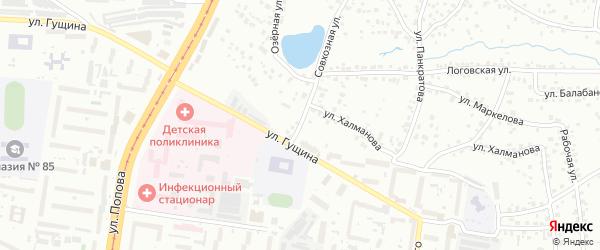 Гаражная улица на карте Барнаула с номерами домов