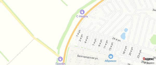 Первая улица на карте садового некоммерческого товарищества Дорожника с номерами домов