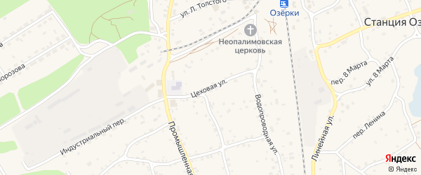 Цеховая улица на карте станции Озерки с номерами домов