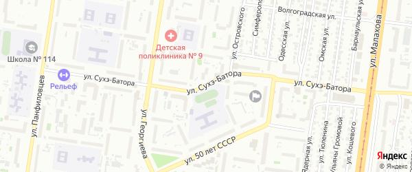 Улица Сухэ-Батора на карте Барнаула с номерами домов