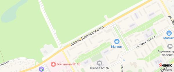 Проспект Дзержинского на карте Южного поселка с номерами домов