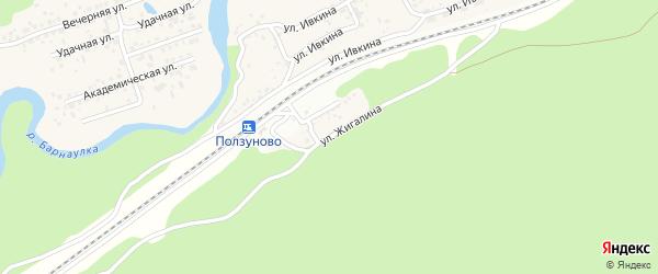 Улица Жигалина на карте станции Ползуново с номерами домов