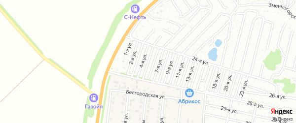 Пятая улица на карте садового некоммерческого товарищества Дорожника с номерами домов