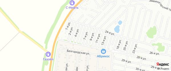 Седьмая улица на карте садового некоммерческого товарищества Дорожника с номерами домов