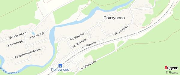 Улица Ивкина на карте станции Ползуново с номерами домов