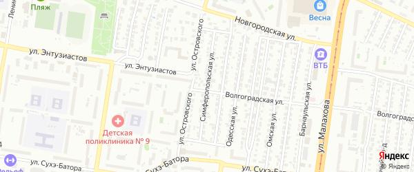 Симферопольская улица на карте Барнаула с номерами домов