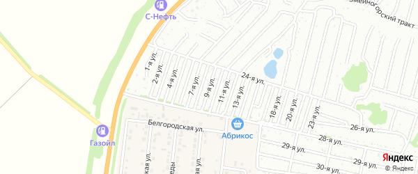 Девятая улица на карте садового некоммерческого товарищества Дорожника с номерами домов