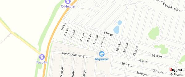 Десятая улица на карте садового некоммерческого товарищества Дорожника с номерами домов