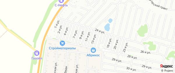 Одиннадцатая улица на карте садового некоммерческого товарищества Дорожника с номерами домов