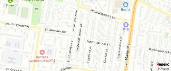 Краснодарская улица на карте Барнаула с номерами домов