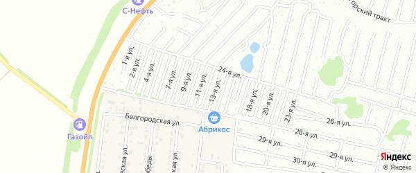 Двенадцатая улица на карте садового некоммерческого товарищества Дорожника с номерами домов