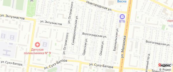 Одесская улица на карте садового некоммерческого товарищества Аэрофлота с номерами домов