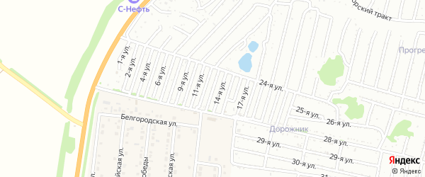 Тринадцатая улица на карте садового некоммерческого товарищества Дорожника с номерами домов