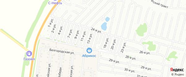 Четырнадцатая улица на карте садового некоммерческого товарищества Дорожника с номерами домов