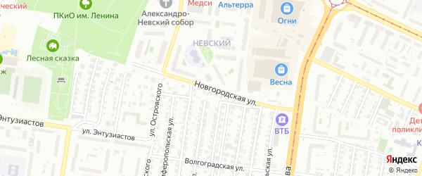 Новгородская улица на карте Барнаула с номерами домов