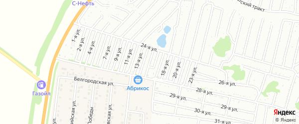 Пятнадцатая улица на карте садового некоммерческого товарищества Дорожника с номерами домов
