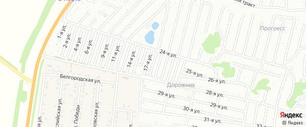 Восемнадцатая улица на карте садового некоммерческого товарищества Дорожника с номерами домов