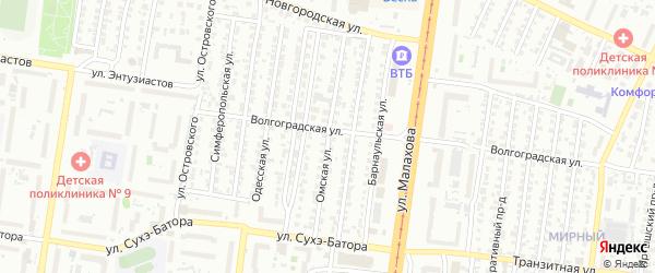 Омская улица на карте Барнаула с номерами домов