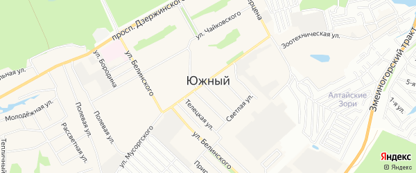 Карта Южного поселка города Барнаула в Алтайском крае с улицами и номерами домов
