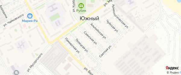 Саянская улица на карте Южного поселка с номерами домов