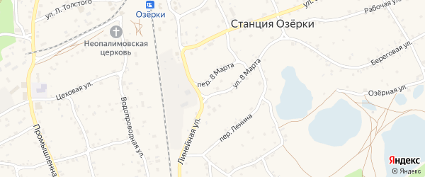 1-й Озёрный переулок на карте станции Озерки с номерами домов
