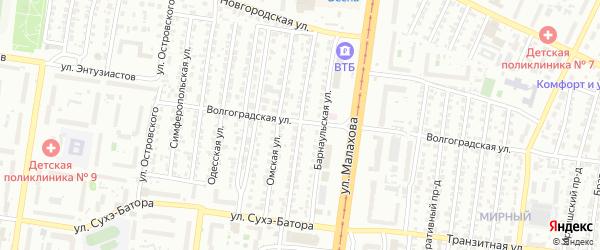 Уральская улица на карте Барнаула с номерами домов