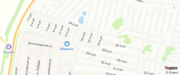 Двадцатая улица на карте садового некоммерческого товарищества Дорожника с номерами домов