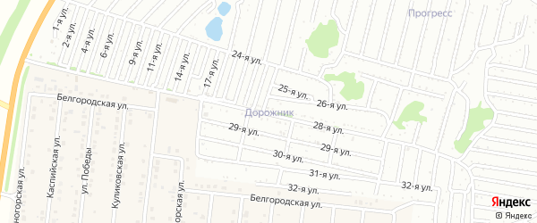 Двадцать пятая улица на карте садового некоммерческого товарищества Дорожника с номерами домов