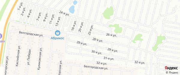Двадцать девятая улица на карте садового некоммерческого товарищества Дорожника с номерами домов