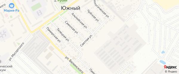 Светлая улица на карте Южного поселка с номерами домов