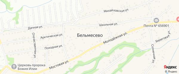 Уютный переулок на карте поселка Бельмесево с номерами домов