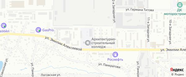 Западная 14-я улица на карте Барнаула с номерами домов