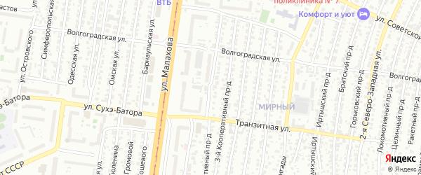 Кооперативный 4-й проезд на карте Барнаула с номерами домов