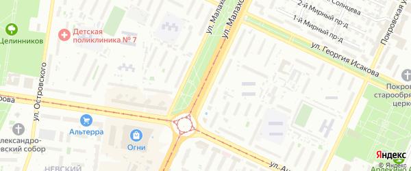 Улица Малахова на карте Барнаула с номерами домов