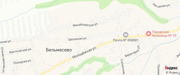 Школьная улица на карте поселка Бельмесево с номерами домов