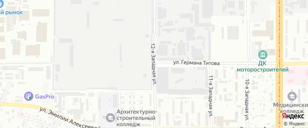 Западная 12-я улица на карте Барнаула с номерами домов